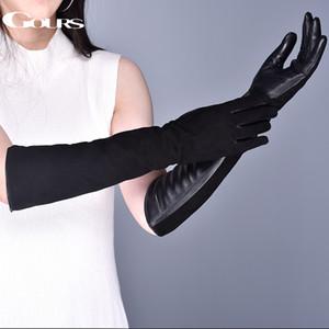 Gours Женская натуральная кожа Перчатки зимние Теплый замша сафьян сенсорный экран Длинные перчатки Мода Овчина варежки Новый CJ191225
