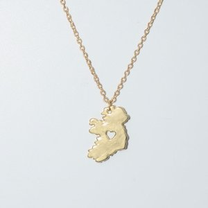 Hot style Ireland national heart hollow map necklace female pendant necklace