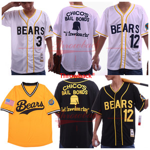 The Bad News Bears Movie Baseball Jerseys 12 Tanner Boyle 3 Kelly Leak White Yellow Black Free Shipping Cheap