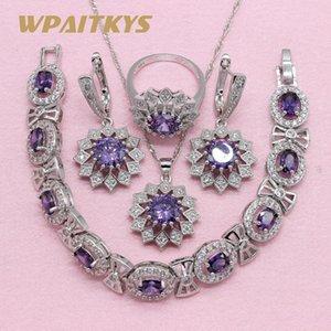 Noble Purple Cubic Zirconia Silver Color Jewelry Sets For Women Flower Shaped Earring Pendant Necklace Ring Bracelet MX200810