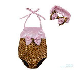 Été Sirène Enfant Fille Maillot de bain sirène queue Bikini nourrisson poissons Échelle Backless Maillots de bain + arc Bandeau Maillots de bain Vêtements de bain WF513