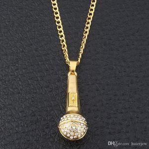 Bling bling hip hop joyas Ice Out Music Estereoscópico Micrófono Colgantes Collares Chapado en oro Collar de cadena