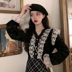 WYNNE Gadis manga comprida Lace Patchwork Mulheres camisas com decote em V Collar Sólidos Tops Cor Blusas Female Tees