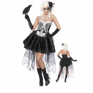 Las mujeres atractivas de Halloween traje del vampiro zombi Ghost Bride mini vestido tutú de Cosplay del vestido de lujo de encaje
