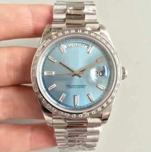 EW Fabrik 228239 Herren Log Uhr 3255 automatische mechanische Bewegung 40mm Silber und Baby Blue Uhr