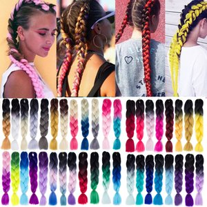 Jumbo Braids LUPU 24 Inches Black Purple Pink Jumbo Braid Kanekalon Ombre Crochet Braiding Hair Synthetic High Temperture Fiber For Women