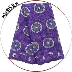 New African Voile Lace Fabric Swiss Purple Magenta Nigerian Dry Lace Fabrics High Quality Cotton Lace Fabric With Stones