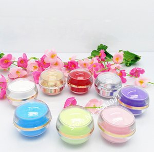 50pcs 5g Round Small Acrylic Cream Bottle Jar Sample Cosmetic Packing Container Vials Gold Silver Pink Red Purple Sphere 5ml