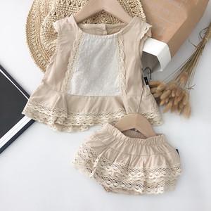 Embroma la ropa del bebé del verano de los colores sólidos con diseño de encaje sin mangas de cuello redondo camisa + sets cortos de verano de chicas juegos de vestir
