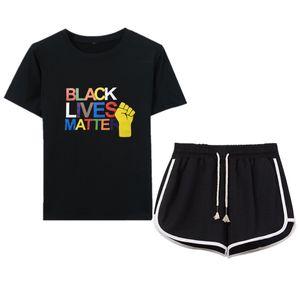 Women's designer T-shirt and shorts set blacklivematter color printed short sleeve drawstring shorts 2 piece set