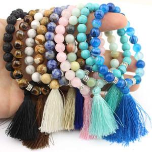8mm Natural Stone with Silk Tassel Pendant Strech Bracelets Bangles for Women Semi-Precious Stone Handmade Beaded Elastic Bracelet