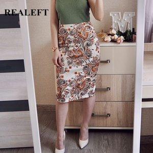 REALEFT 2020 Spring Summer Floral Printing Fashion Sheath Wrap Skirts High Waist Pencil Midi Skirt Zipper Back Split Skirt Women Y200704