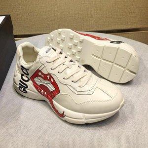Mode Herren-Schuhe aus Leder mit ursprünglichem Kasten Chaussures gießt hommes Mode Type Herren Schuhe Casual Luxury Rhyton-Leder-Turnschuh-Tropfen-Schiff