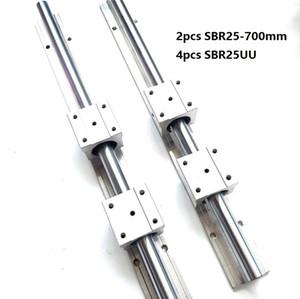 2pcs SBR25-700mm guide linéaire / rail + 4pcs SBR25UU paliers linéaires pour pièces de routeur cnc
