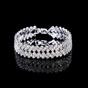 Amandabridal Prata / Cristal De Ouro de Casamento Pulseiras de Jóias Pulseiras para As Mulheres Bijuterias Cubic Zirconia Bridal Cadeia De Noiva Pulseira