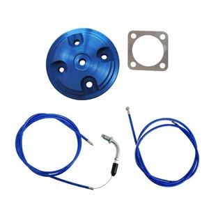 Azul CNC Cylinder Head Cover acelerador Linha Para 80cc Motor bicicleta motorizada