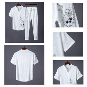Mens Designer Set Chinese style embroidery slim slim V-neck High-end pleated mens suitz