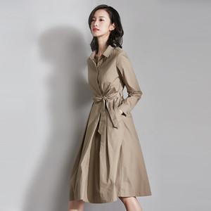 Kayışlar 2020 İlkbahar Yaz İçin Kadınlar ile Heliar Düğmeli Yukarı High Street Elbise Kadınlar Uzun Kollu Sokak Elbise