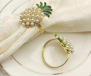 4PCS Western Restaurant Hotel Tableware Pearl Pineapple Napkins Bucket Napkin Rings Diamonds Napkin Rings Towels Buckle Cloth