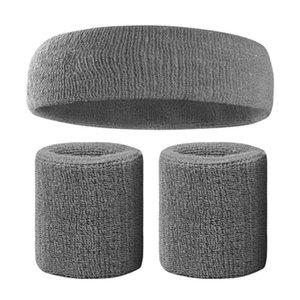 Fitness élastique Bandeau respirant Sweat Absorbent Sweatband Band cheveux tête Wrap sport Sweatband coton Set Nouveau