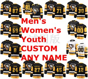 Pittsburgh Penguins Jerseys Crosby Jersey Phil Kessel Evgeni Malkin Matt Murray Jake Guentzel Black White Ice Hockey camisas personalizadas costurado