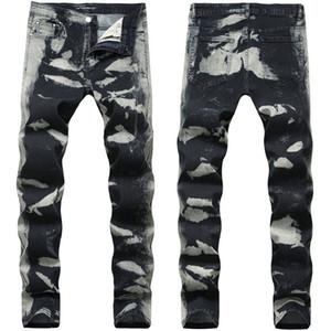 Grau Spots Regular Herren Jeans Fashion Stretch Lange Bleistift Designer Hosen mittlere Taillen Drucken Herren-Hosen