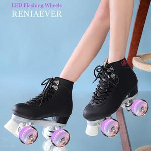 linea Roller Skates Line Doppia Pattini signora femminile delle donne di età con illuminazione a LED Ruote PU 4 ruote due scarpe nere Skating