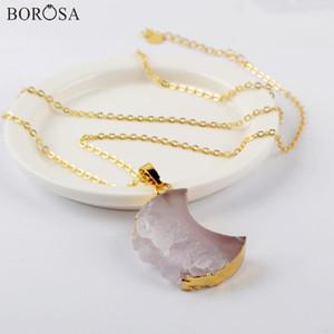 Declaração Borosa 5 / 10pcs Crescent Natural Ágata Fatia Pingente Lua ouro colar de cristal druzy Mulheres G1963-N