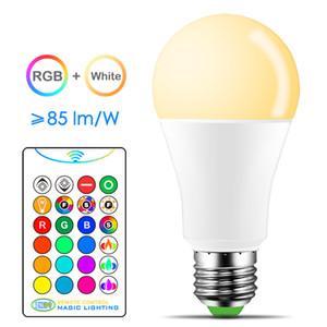 매직 RGB LED 전구 AC85-265V 스마트 조명 리모콘 5W 10W 15W 스마트 전구 램프 컬러 변경 디 밍이와 IR