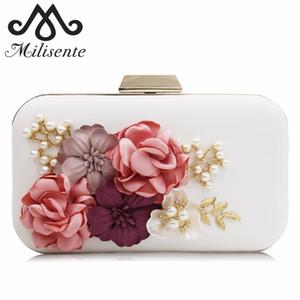 Milisente женщины цветочные сумки с жемчугом цепи ручной работы цветок дизайнер алмазы роскошные сумки дамы свадьба кошелек партии сцепления