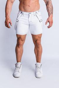 Mens Verão desiger Jeans Branco Shorts Slim Fit meio comprimento rasgado Hiphop Shorts