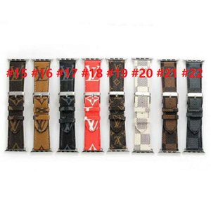 Designer Apple montre PU bandes en cuir 42mm 38mm 40mm 44mm réglable Sangle pour iWatch 5 4 3 2 sangles de remplacement de bonne qualité