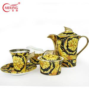 Avrupa Sarı Coffee Cup ile Saucer Kemik Çin Seramik Çay Fincan Seti İçin Kahve Lover Lüks Hediye Fikirleri El yapımı Porselen