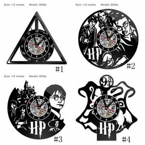 Harry Potter Clock Theme Art CD Record Clocks Vinyl Record Antique LED Wall Hanging Clock Black Hollow Home Decor Clocks 4styles GGA2656