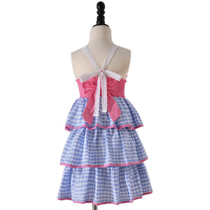 Ins style nouvel été sans manches trois couches de gâteau fille de jarretelle robe enfants vêtements élégants ins robe d'été
