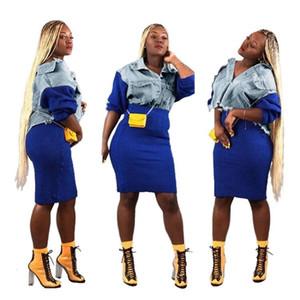 moda vestito di fascia alta modelli di vendita caldi A3160 delle donne in Europa e in America le donne sciolti cuciture denim jacket + skirt