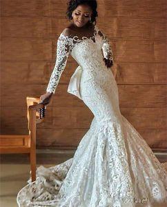 2019 африканских нигерийских свадебных платьев больших размеров с вырезом на спине и бисером с длинными рукавами часовня поезд Роскошные свадебные платья с русалкой