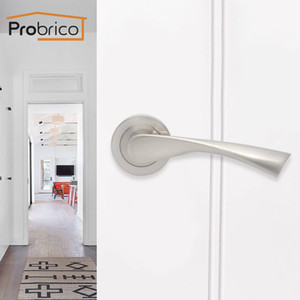 Probrico Zinc Alloy Passage Door Lock European Mortise lock twisted Arc Shape Passage Door Aluminum Handle For Living room Aisle T200703