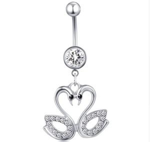 Cerrahi Çelik Belly Button Yüzükler Kristal Dangle Kolye Göbek Piercing Bell Düğme Küpe Seksi Vücut Takı için 20 adet
