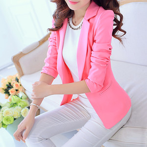 Candy color Fashion elegant pink blazer women Autumn casual simple solid business work 2019 Fashion blaser suits