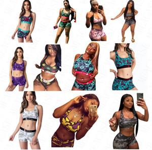 femmes Marque Beachwear 2 pièces bikini ensemble Gilet Débardeur Bras + Shorts Boxers Caleçons maillot de bain Combishort de plage Costumes de bain Tankinis D61704
