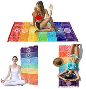 150*75cm polyester Chakra Tapestry Yoga Rug Chakras Tassel Striped Floor Mat Sarongs Beach Wall Hanging Travel Shawl KKA7880