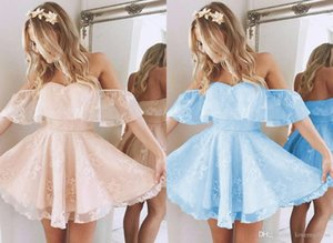 Light Coral Homecoming Party Dress Cheap Off the shoulder Lace Baby Blue Short Sleeves A line Prom Graduation Dress Gowns 298