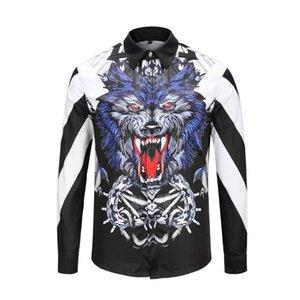 Seestern Marka giyim Elbise gömlek 3D baskı Medusa gömlek erkekler uzun kollu parti kulübü tasarımcı adam gece kulübü yılan tops