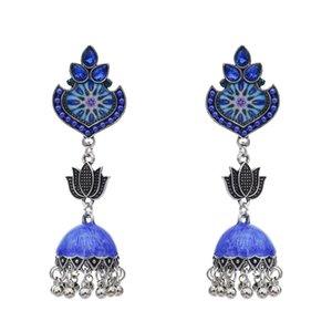 Inde Style avec verre Lotus modèle couleur émail Tassel Dangle Boucles d'oreilles pour Charms Femme Bijoux cadeau de mariage