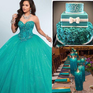 Luxury Crystal Beaded Green Ball Gown Quinceanera Dresses Sweetheart Tulle Floor Length Corset Masquerade Ball Gowns Sweet Sixteen Dresses
