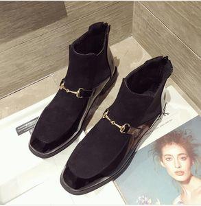 Sıcak Satış-Kış Düz Topuk Yuvarlak Ayak parmakları Kısa Çizme Kadın bayan ayakkabı ayak bileği Boot Martin Boots Motosiklet botları, metal toka