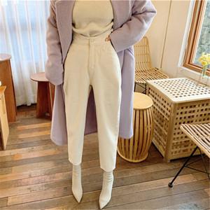 HziriP Lactée Blanc Chic Croix cheville Longueur Pantalon 2020 Femme Casual solide taille haute Streetwear haute qualité Jeans Pantalons Denim