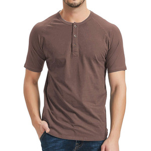 Mens конструктора Solid Color Tshirts с кнопкой мода с короткого рукавом Мужского летом Tops Man O Шея Длина Обычной Тис