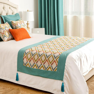 Bed Flag American Jacquard Diamond Grid Splicing Home o Boutique Hotel Bed Banner Light Lujo BB Inn Bed Tail